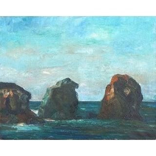 Homer Levinson Sea Rocks Carmel Landscape 1940s For Sale