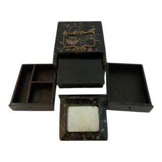Antique Lacquer Painted Dressing Box 1860-1880 For Sale