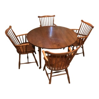 Stickley Cherry Valley Round Dining Table With 4 Captain Chairs