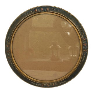 Antique Victorian Round Giltwood Picture Frame With Glass For Sale