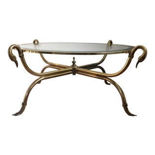 Italian Brass Swan Coffee Table
