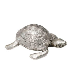 Silver Plated Bronze Box With Turtle Shape, by Robert Goossens, Circa 1970 For Sale