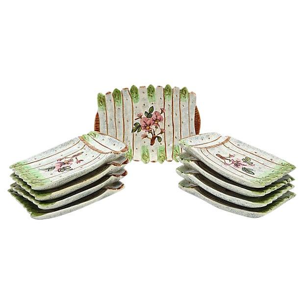 Vintage French Vallauris Asparagus Set - 9 Pcs For Sale