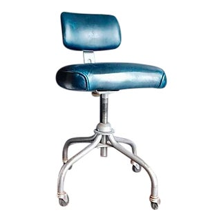 1950s Sapphire Leather Office Chair For Sale
