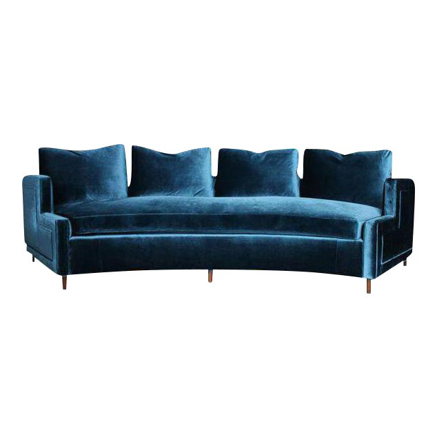 Pierre Deluxe Curved Velvet Sofa For Sale