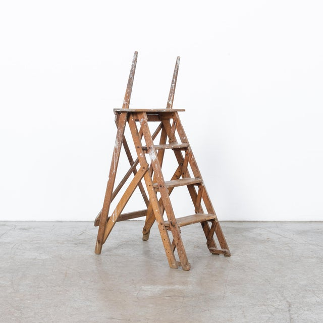 Antique French Wooden Step Ladder For Sale - Image 4 of 4