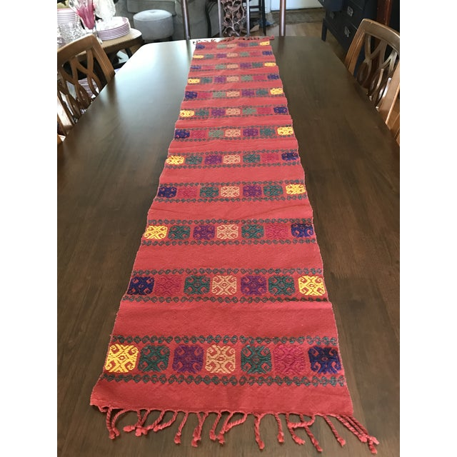 Cotton Boho Embroidered Table Runner With Fringe For Sale - Image 7 of 8