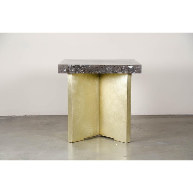 Asian Quad Brass Table Set with Smoke Crystal Top by Robert Kuo, Limited Edition For Sale - Image 3 of 6