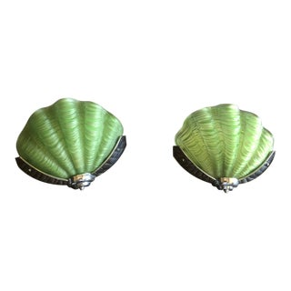 Deco Shell Sconces - A Pair For Sale