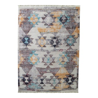Faded Southwestern Kilim Patterned Tribal Cotton Rug With Fringe - 5′3″ × 7′7″ For Sale