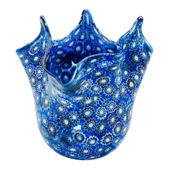 Vintage Blue Murano Millefiori Handkerchief Vase For Sale