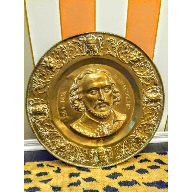 Huge Vintage William Shakespeare Face Brass Wall Decor Plate Chairish