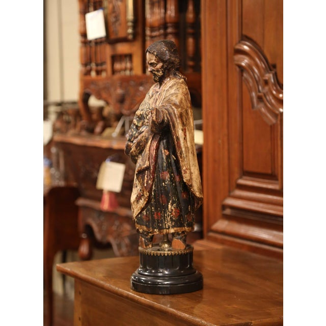 This antique baroque colorful carved figure of Saint (probably Jesus) was created in Italy. Crafted, circa 1720, the tall...
