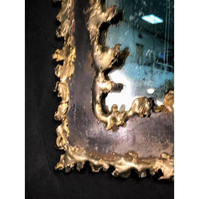 Brutalist Torch Cut Framed Rectangular Mirror For Sale In Philadelphia - Image 6 of 7