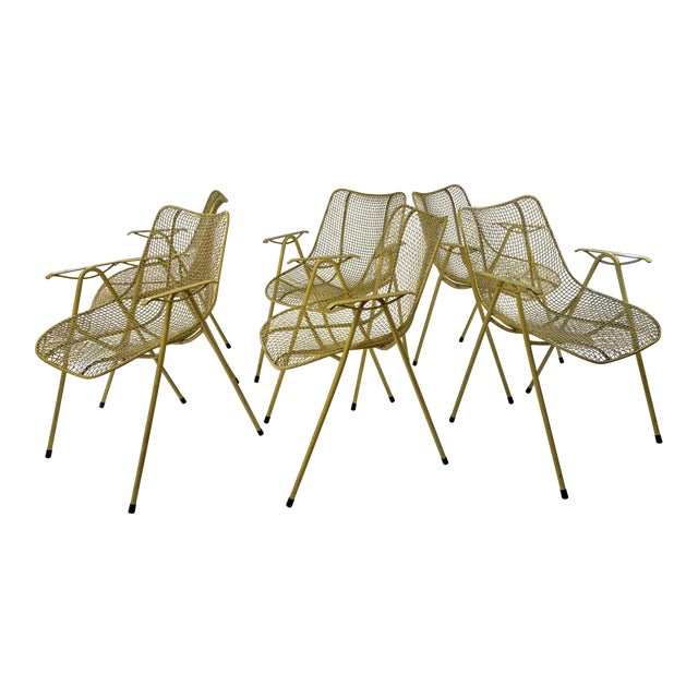 Russell Woodard Mid-Century Modern Sculptura Outdoor Dining Chairs - Set of 6 For Sale