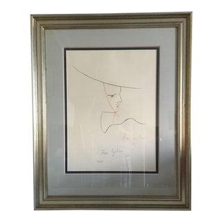 Jean Cocteau Signed Original Large Lithograph #219/220, 1957 For Sale