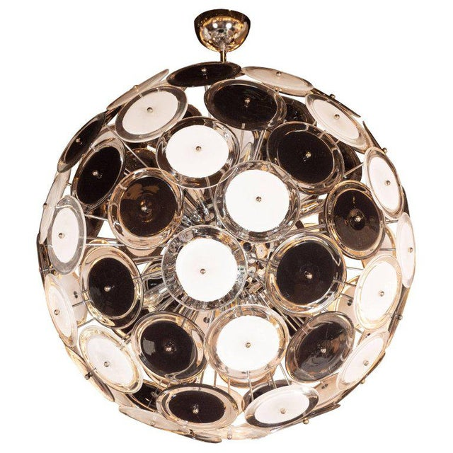 Silver Modernist Polished Chrome Chandelier With Handblown Murano Black and White Discs For Sale - Image 8 of 8