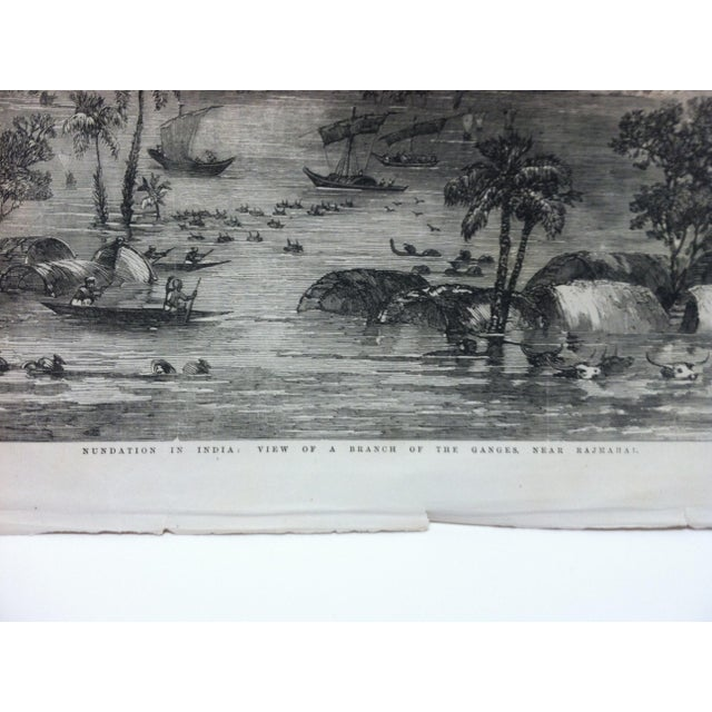"English 1856 Antique Illustrated London News ""View of a Branch of the Ganges - Near Rajmahal"" Print For Sale - Image 3 of 5"