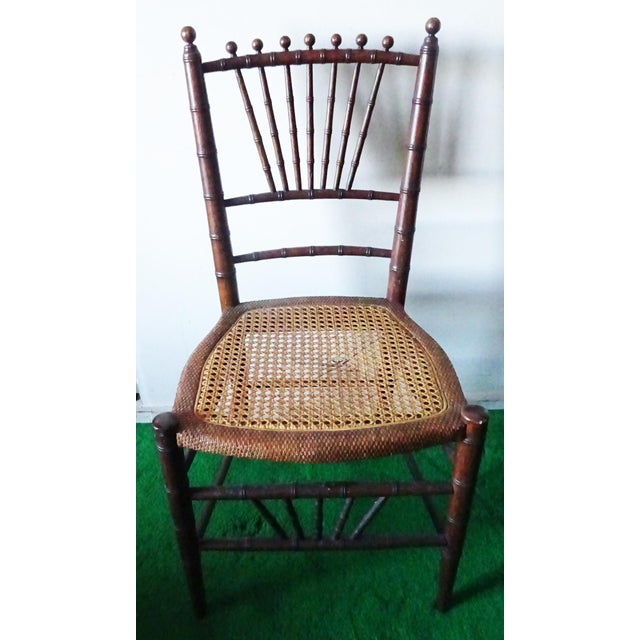 Late 19th Century Antique Faux Bamboo Side Chairs - Unmatched Pair For Sale - Image 4 of 7