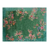 "Image of Chinese Art Deco Green Rug - 8'8""x11'4"" For Sale"