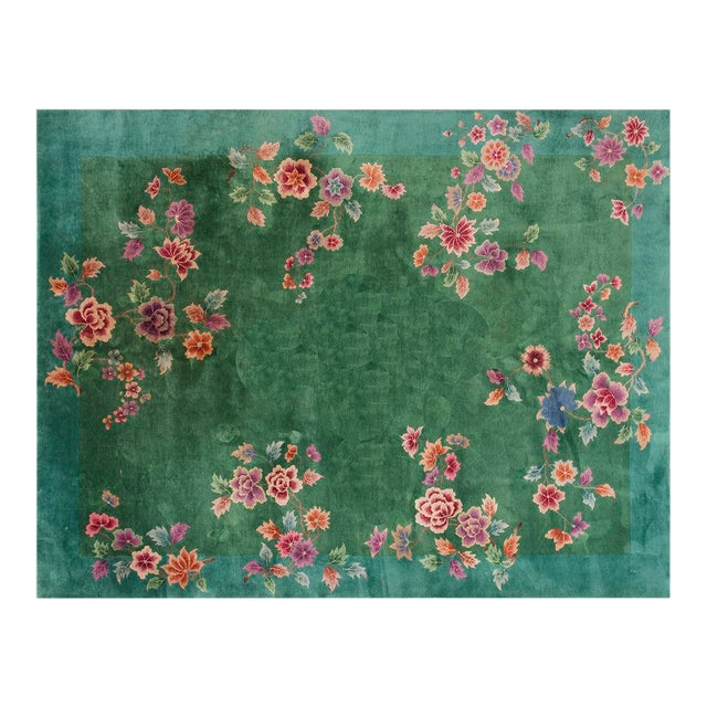 """Chinese Art Deco Green Rug - 8'8""""x11'4"""" For Sale"""