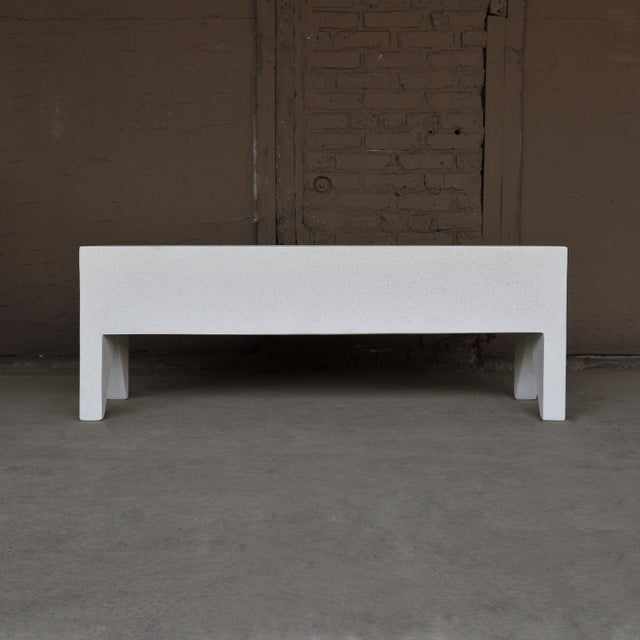 Contemporary Cast Resin 'Farm' Bench, White Stone Finish by Zachary A. Design For Sale - Image 3 of 8