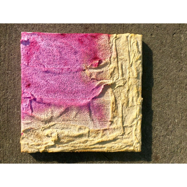 Virginia Chamlee Pink and Yellow Sculptural Abstract Painting by Virginia Chamlee For Sale - Image 4 of 4