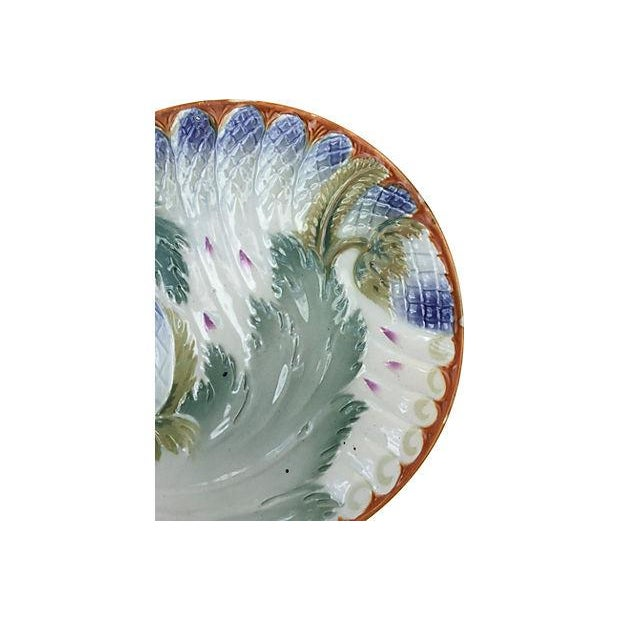 Majolica French Majolica Asparagus Plates - Set of 6 For Sale - Image 4 of 6