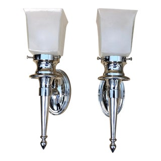English Traditional Remain Lighting Thalia Polished Nickel Wall Sconces - a Pair