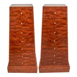 Obelisk Form Semainier Cabinets in Exotic Burlwood - a Pair For Sale