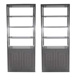 Pair of Custom Bookshelves/Étagères with Cabinets in Lustrous Slate Grey Lacquer For Sale