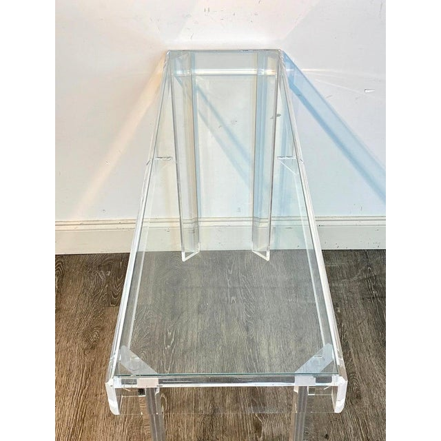 Glass Sleek Modern Lucite and Glass Console For Sale - Image 7 of 11