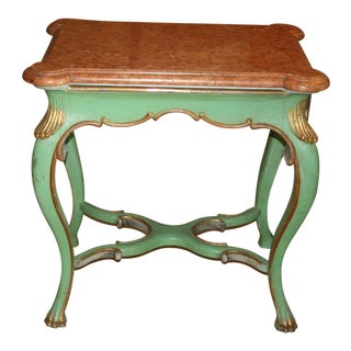 1840's Swedish Rococo Marble & Wood Center Table For Sale
