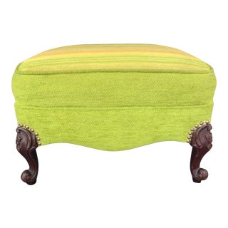 French Style Footstool With Mid-Century Modern Fabric