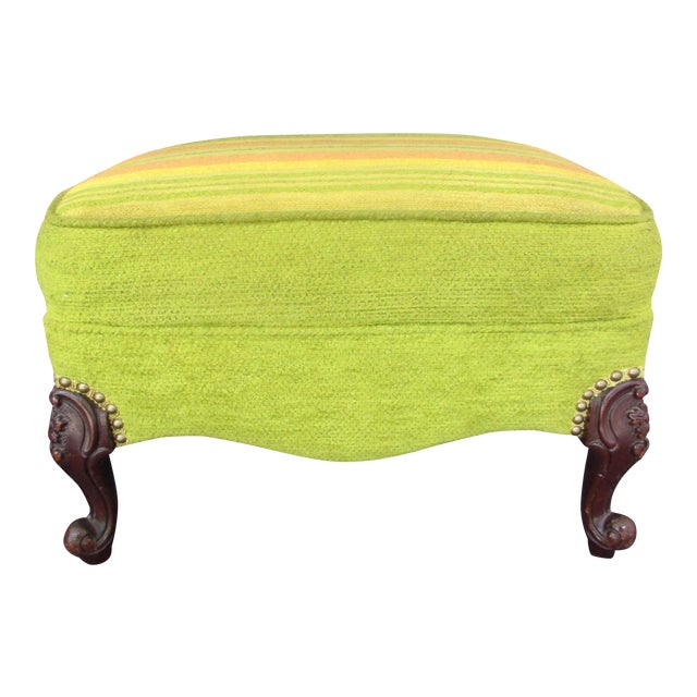 French Style Footstool With Mid-Century Modern Fabric For Sale