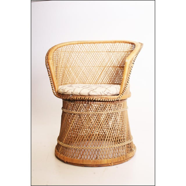 Vintage Boho Chic Wicker Barrel Chair For Sale - Image 9 of 11