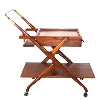 20th Century Walnut Bar Cart by Cesare Lacca for Cassina For Sale