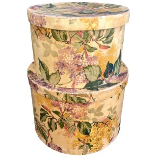 1930s Wallpaper Covered Hatboxes, Property Beales of Grey Gardens - a Pair For Sale