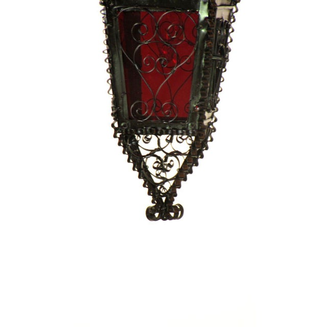 Early 20th Century Small Moorish Lantern with Red Glass Handmade For Sale - Image 5 of 6