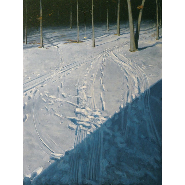Snowy Back Yard in Winter Original Painting - Image 1 of 7