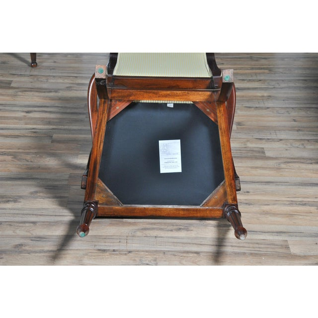 Wood Tall Back Upholstered Arm Chairs - Pair For Sale - Image 7 of 8