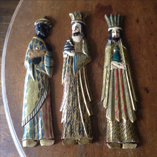 Folk Art Wooden Three Kings Wall Hangings - Set of 3 - Image 3 of 11
