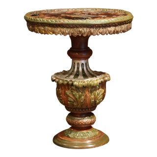 19th Century Italian Carved Giltwood and Painted Side Table With Eglomise Top For Sale