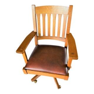Stickley Swivel Tilt Arm Desk Chair For Sale