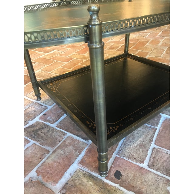 Asian Chinoiserie Oval Metal Cocktail Table For Sale - Image 3 of 12