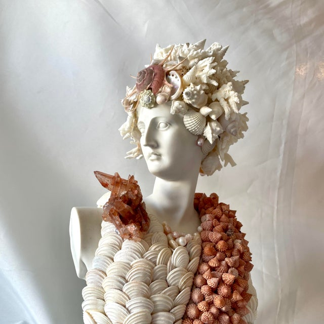 """Stone """"Diana"""" Contemporary Bust Encrusted With Shells For Sale - Image 7 of 8"""