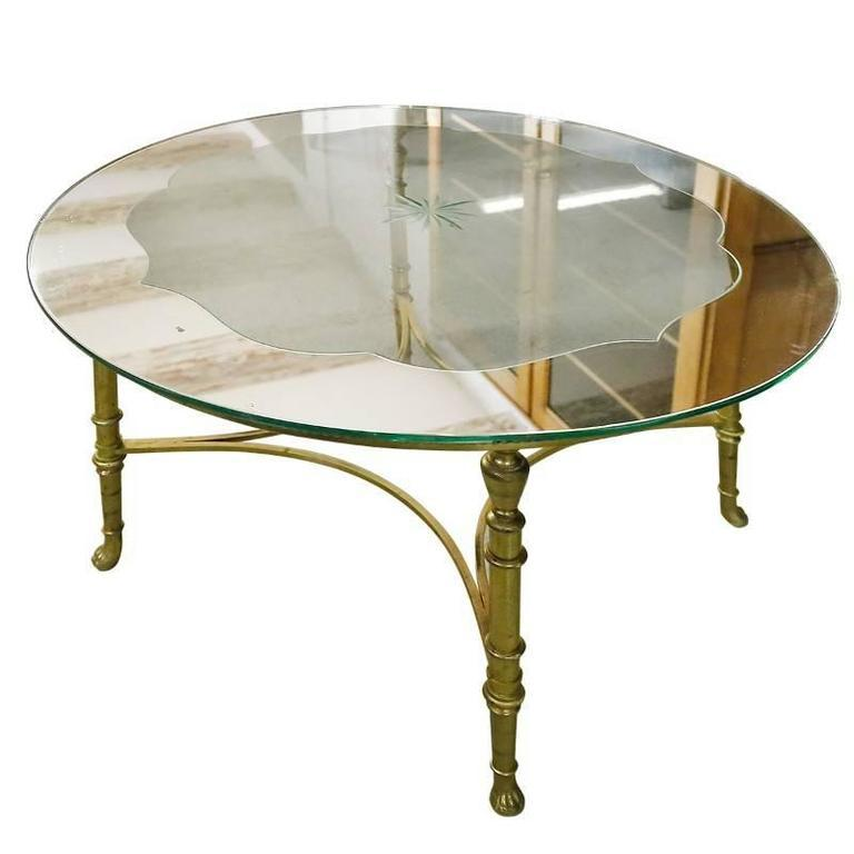 French Round Brass Coffee Table With Etched Glass Top   Image 9 Of 9