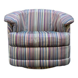 Carsons Striped Swivel Chair For Sale