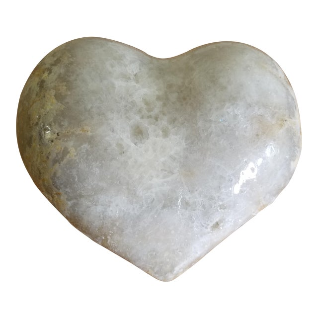 Marble Carved Heart Decorative Object For Sale
