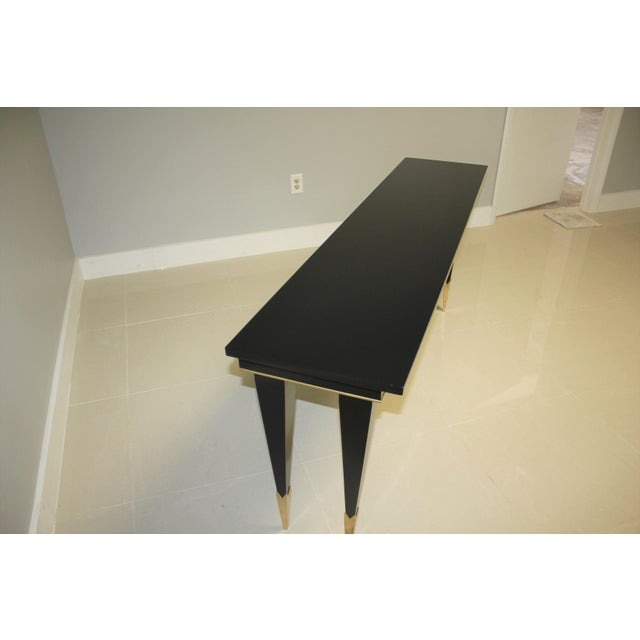 Art Deco 1940s French Art Deco Ebonized Console Table For Sale - Image 3 of 13